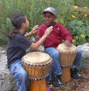drumming in garden